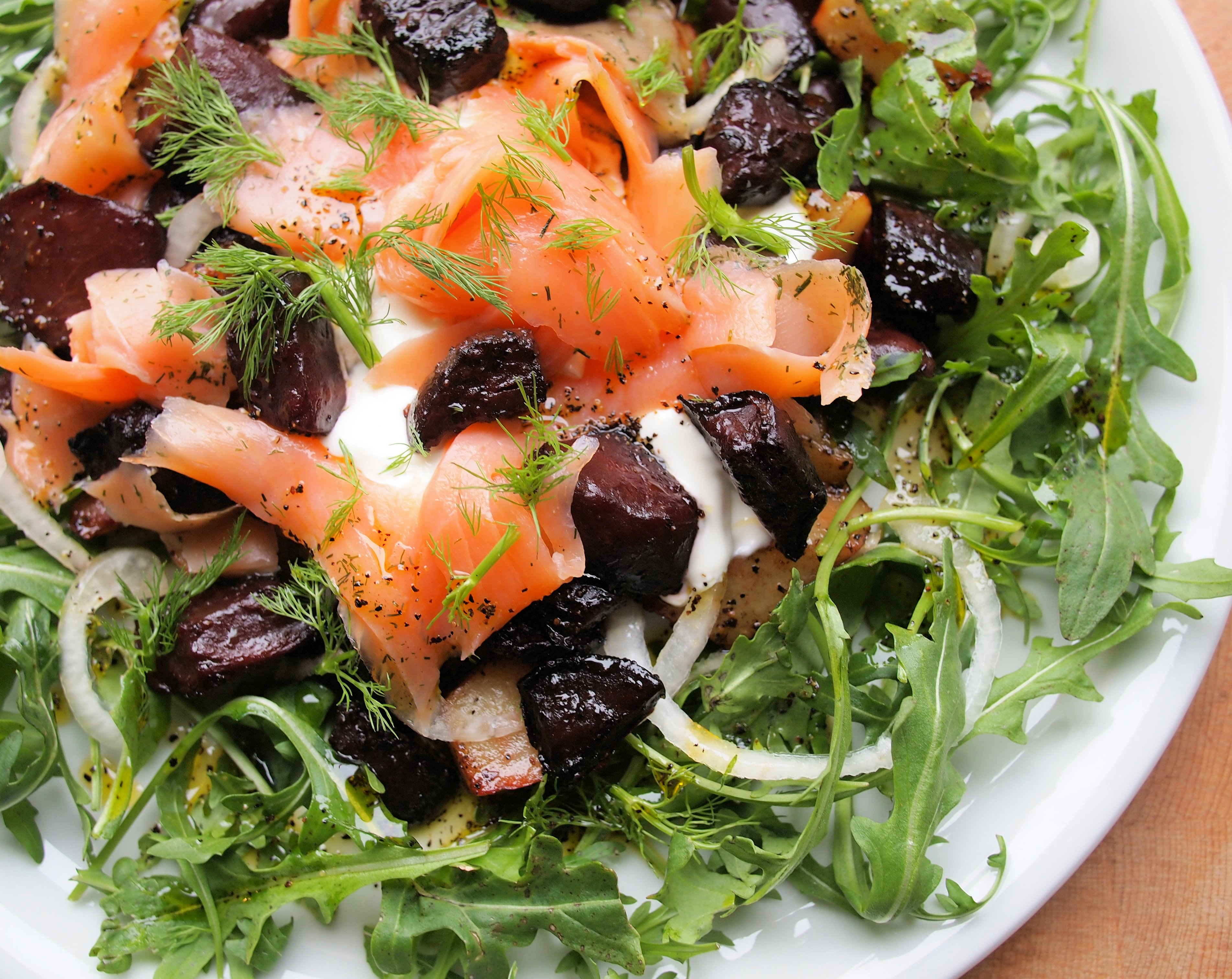 Hot Beetroot and Potato Salad with Smoked Trout and Dill Cream
