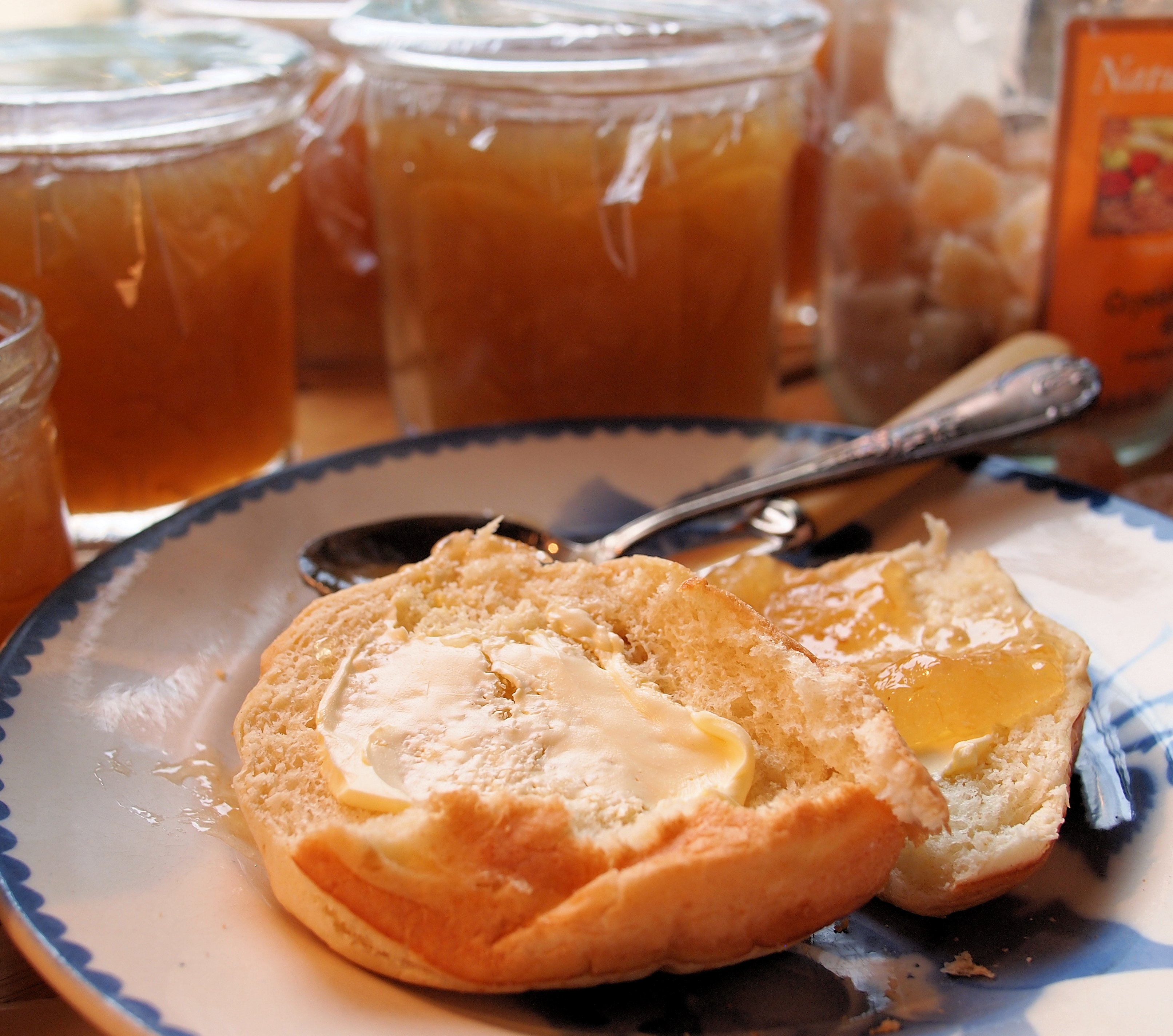 Three Fruits Marmalade with Toast and Tea