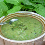 English Cream of Sorrel Soup with Peas