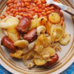 Fabulous family supper - Sausage, Onion and Potato Bake with Beans