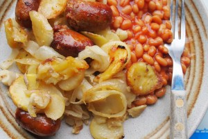 Sausage, Onion and Potato Bake