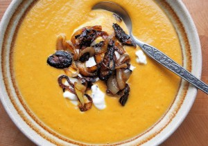 Spiced Lentil & Carrot Soup with Frazzled Onions