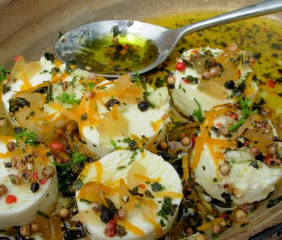 Marinated English Goat's Cheese with Garlic, Stem Ginger and Herbs