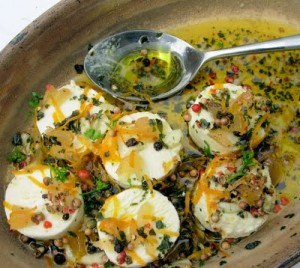 Marinated English Goat's Cheese with Garlic, Stem Ginger & Herbs
