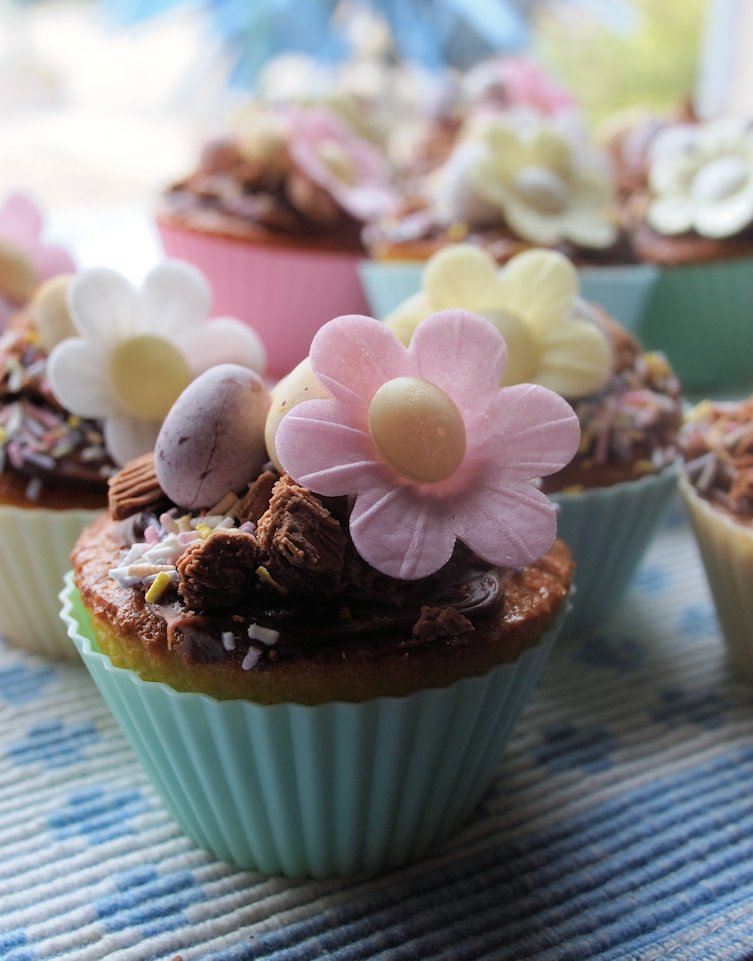 Daisy Cakes with Chocolate Cheese Cake Frosting