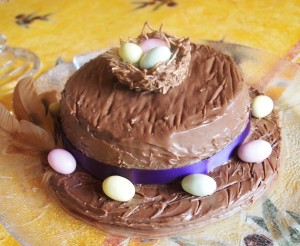 Jan = Chocolate Easter Bonnet Cake with Noodle Nest and Hen's Feathers!