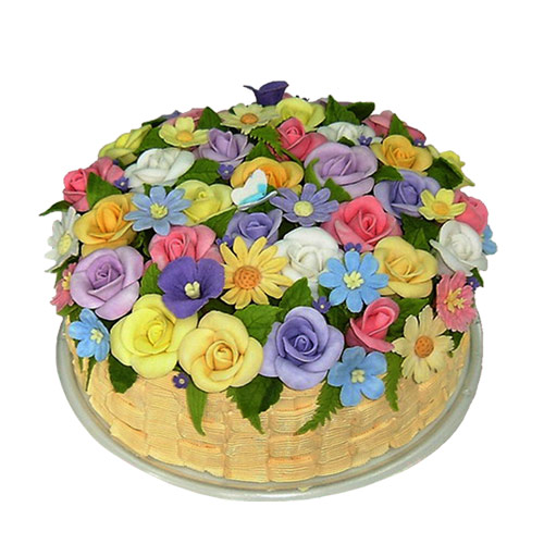 Images Of Birthday Cake And Flowers : Big Birthday Cake with Flowers - Lavender and Lovage