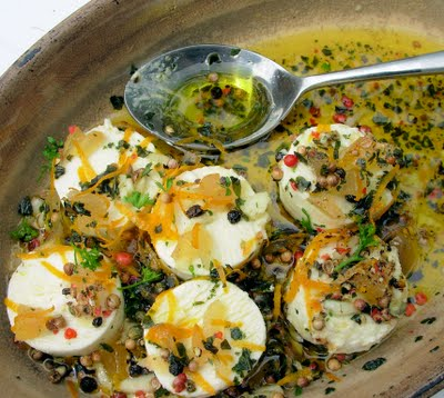 Marinated Goat's Cheese with Pepper, Orange and Mixed Herbs