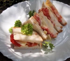Cheese and Tomato Salad Cream Sandwiches