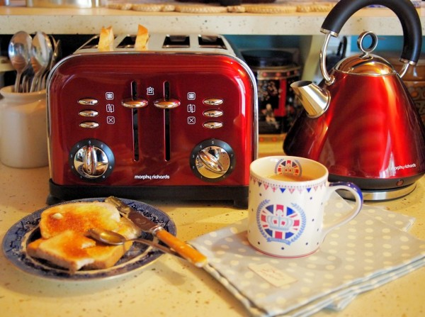 Red Kettle and Toaster Set and a Jubilee Breakfast