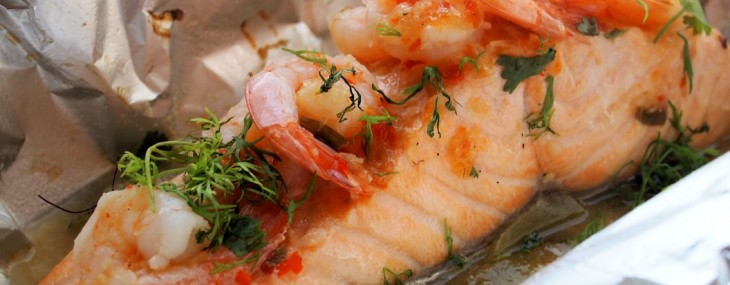 Fish on Friday and ON the BBQ! Chilli, Garlic & Lime Barbecued Salmon Parcels with Prawns