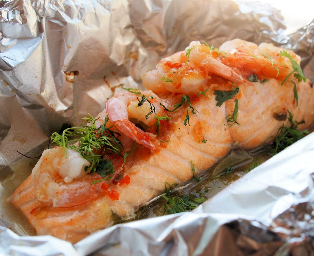 Chilli Garlic Lime Barbecued Salmon Parcels With Prawns
