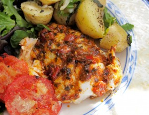 Barbecued Wild Cod with Roasted Red Pepper and Tomato Tapenade