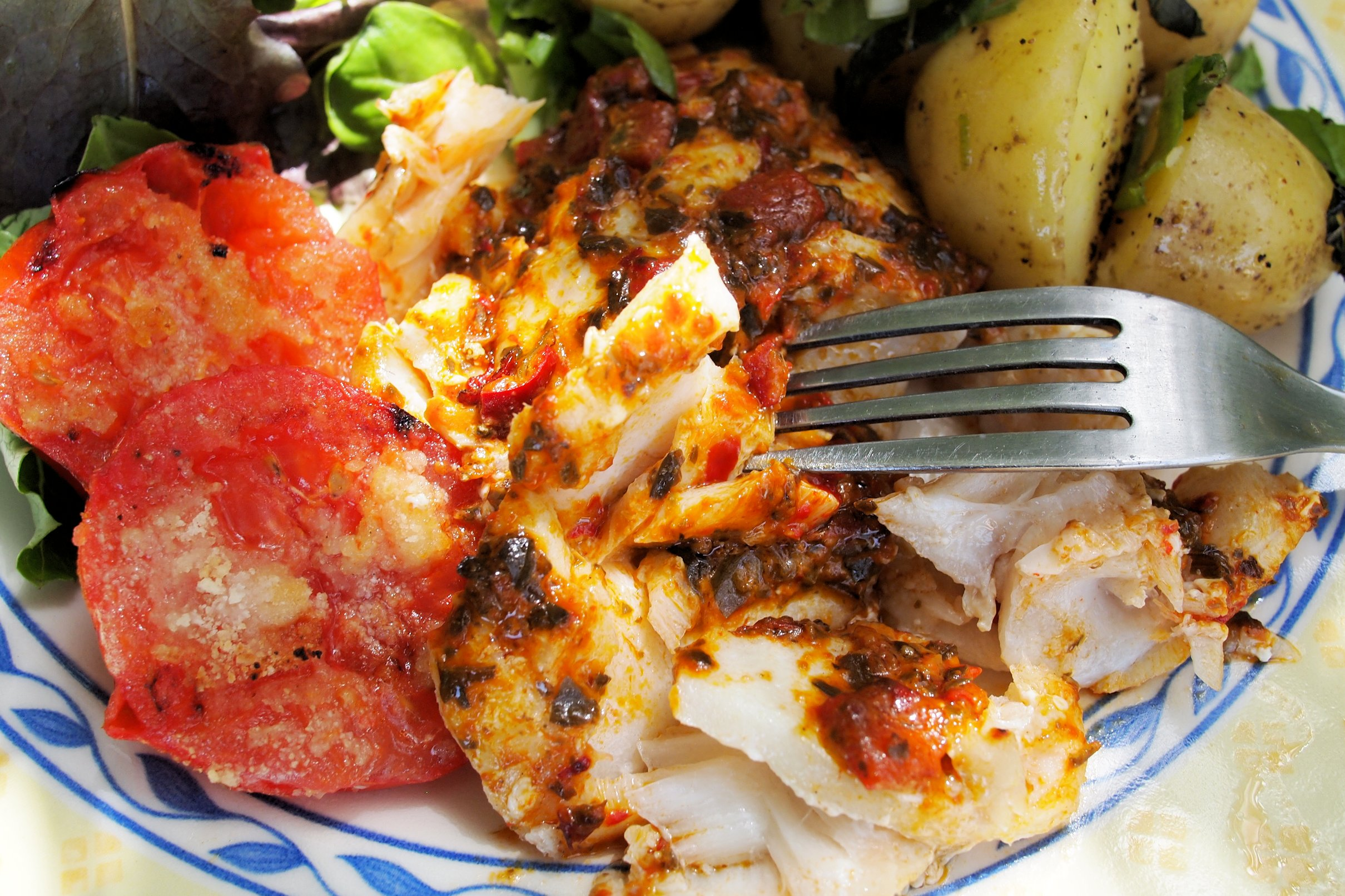 Roasted Red Pepper & Tomato Tapenade Topped BBQ Cod