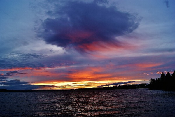 Last night's midnight sun just below horizon, as seen by EarthSky Facebook friend Birgit Boden, north of Sweden.Notice the virga, or rain falling from the cloud, never quite reaching the ground.