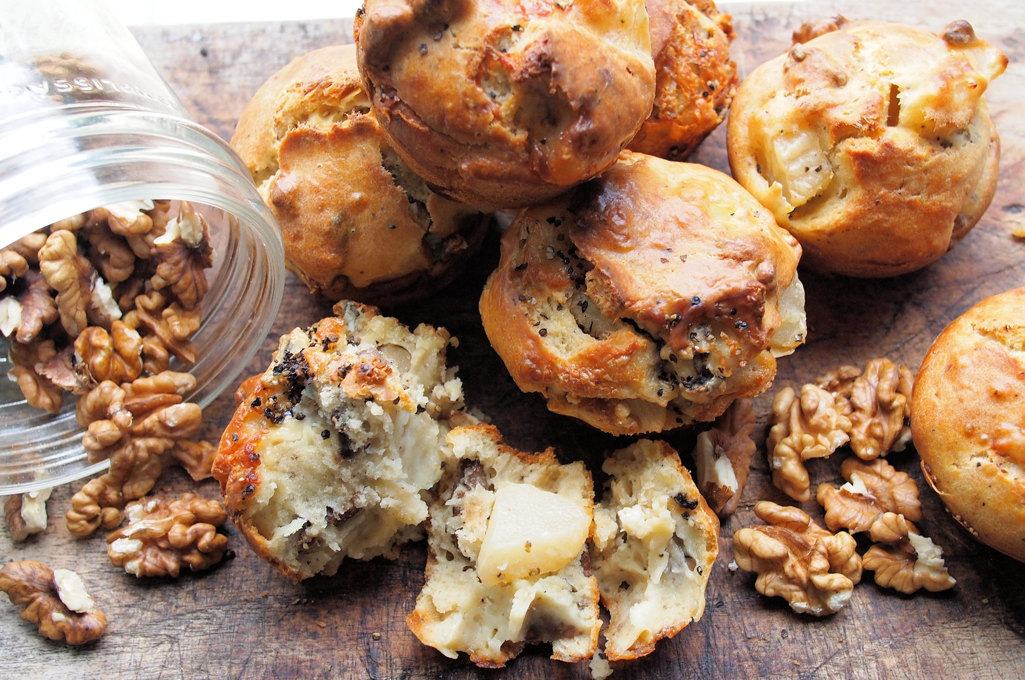 Summer Holiday Pear,Walnut & Goat's Cheese Breakfast Buns (Muffins)