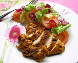Baked Herb Crusted Chicken Breast with Salad