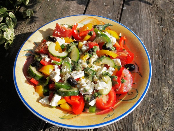 A New 5:2 Diet Fast Day Recipe  Greek Lunch Box Salad with Feta Cheese and Mint Dressing