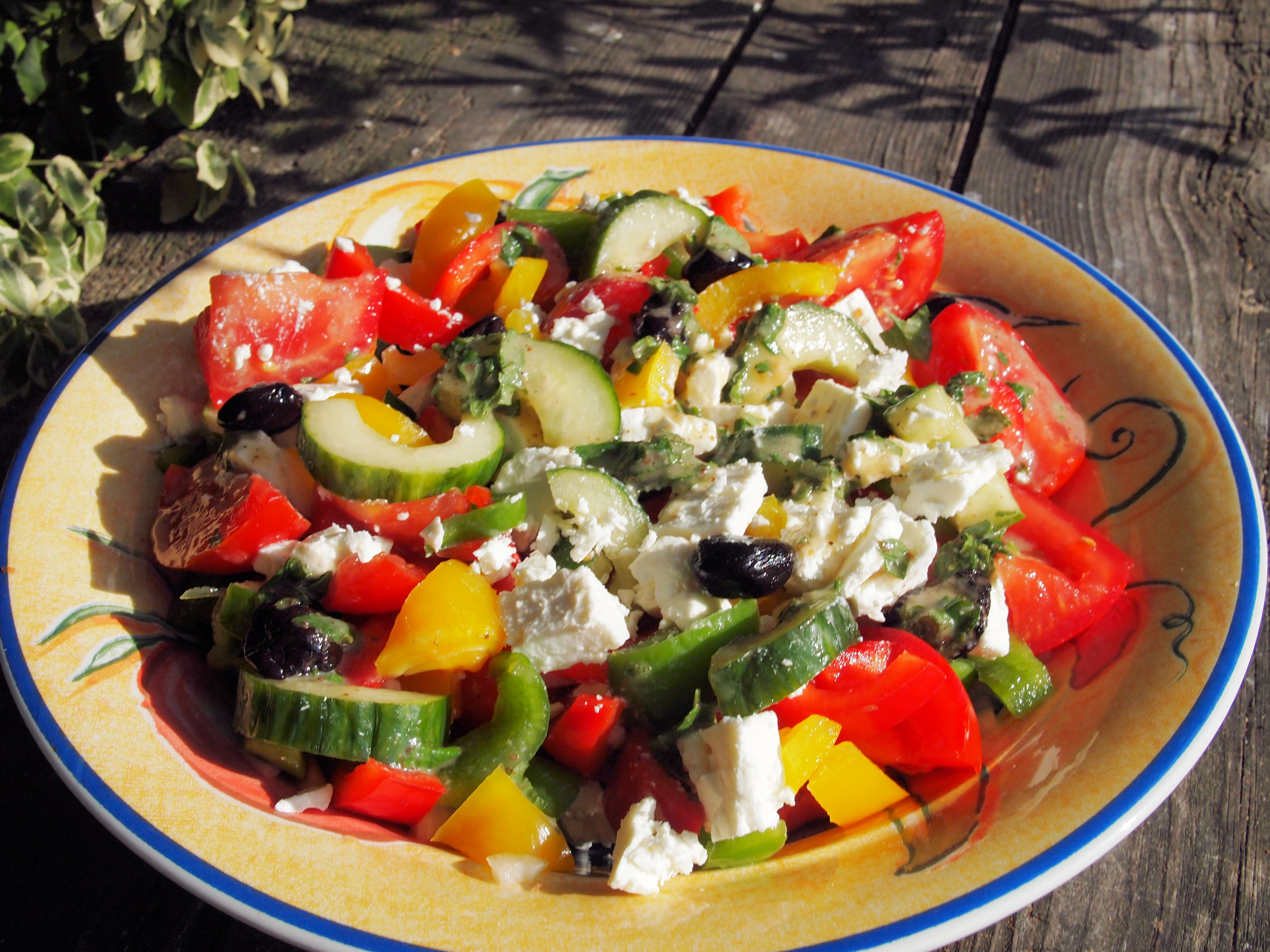Greek Lunch Box Salad with Feta Cheese and Mint Dressing ...