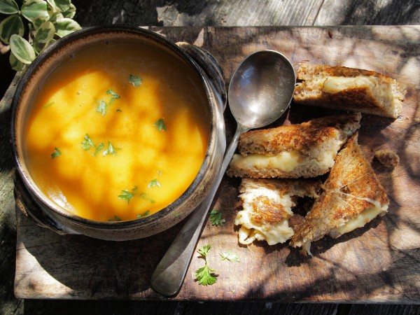 Spiced Carrot Soup with Cheese and Houmous Toasties