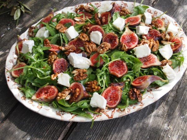 ... and Seasonal Salads: Fresh Fig and Goat's Cheese Salad with Walnuts
