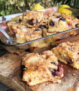 Apple, Bramble and Pear Tray Bake