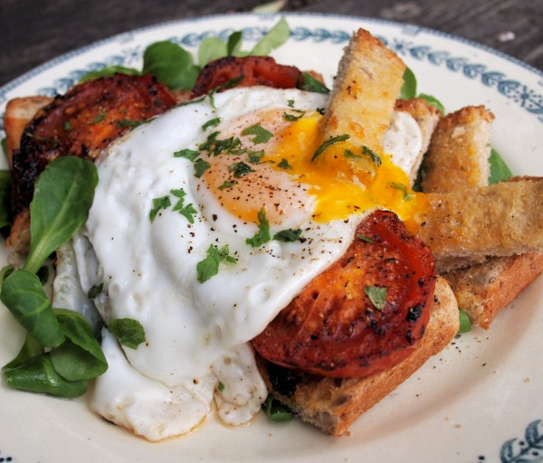 French Egg & Tomato Breakfast Tartine with Lovage