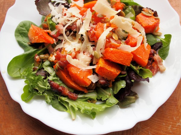 Sunday Supper: Roast Pumpkin Salad with Pancetta, Grana Padano and Pumpkin Seeds