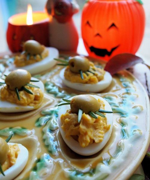 Just for the Grown-Ups for All Hallow's Eve - Creepy Crawly Curried Devilled Eggs!