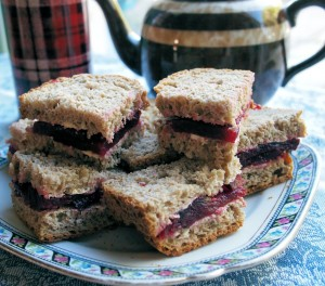 Beetroot Sandwiches made with National Wholemeal Bread.