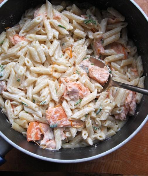 Creamy Salmon and Orange Pasta with Mixed Herbs Recipe