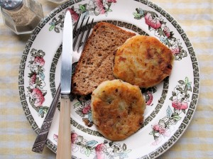 Bacon and Potato Cakes with Fried Bread in Dripping