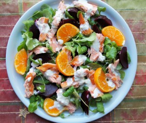 Clementine and Honey Roast Salmon Salad with Wasabi Dressing