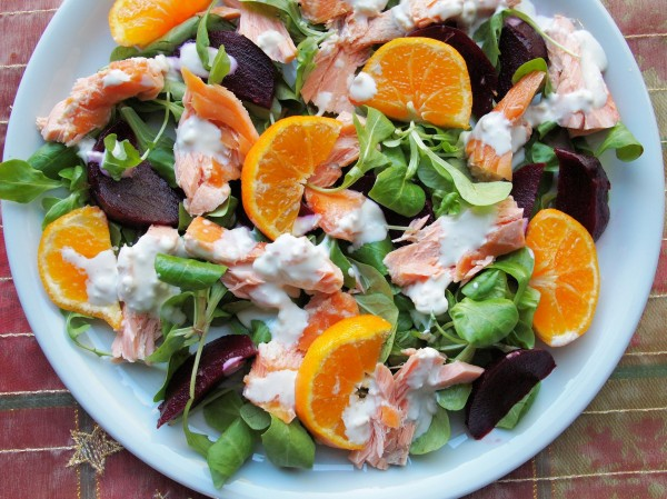 Festive Fish on Friday: Clementine and Honey Roast Salmon Salad with Wasabi Dressing Recipe