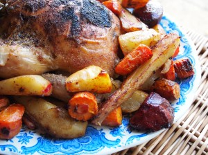 Lazy Blue and White Lunch: Garlic Roast Chicken with Root Vegetables Recipe