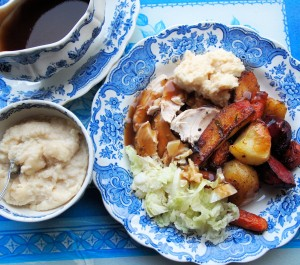 Garlic Roast Chicken with Root Vegetables Recipe
