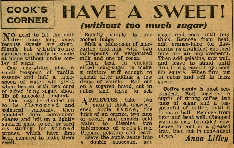 1940's Newspaper Clipping for Sweets