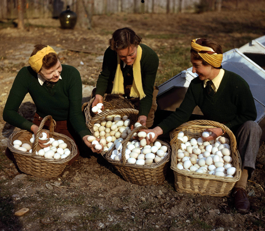 The wartime kitchen and ration book cooking day three eggs and world war two england march 1944 land army girls with a large forumfinder Images