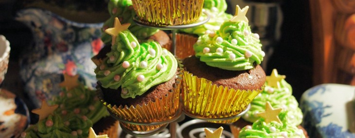 Tea Time Treats, Chocolate and Little Spiced Chocolate Christmas Tree Cakes Recipe