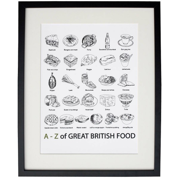 """A to Z of Great British Food"" Print"