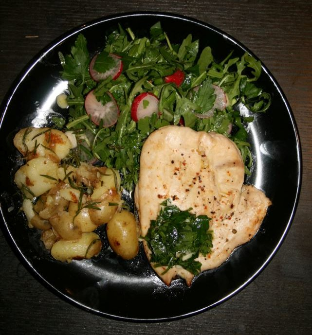 Chicken Paillard with Crushed Rosemary Potatoes, Rocket and Gremolata