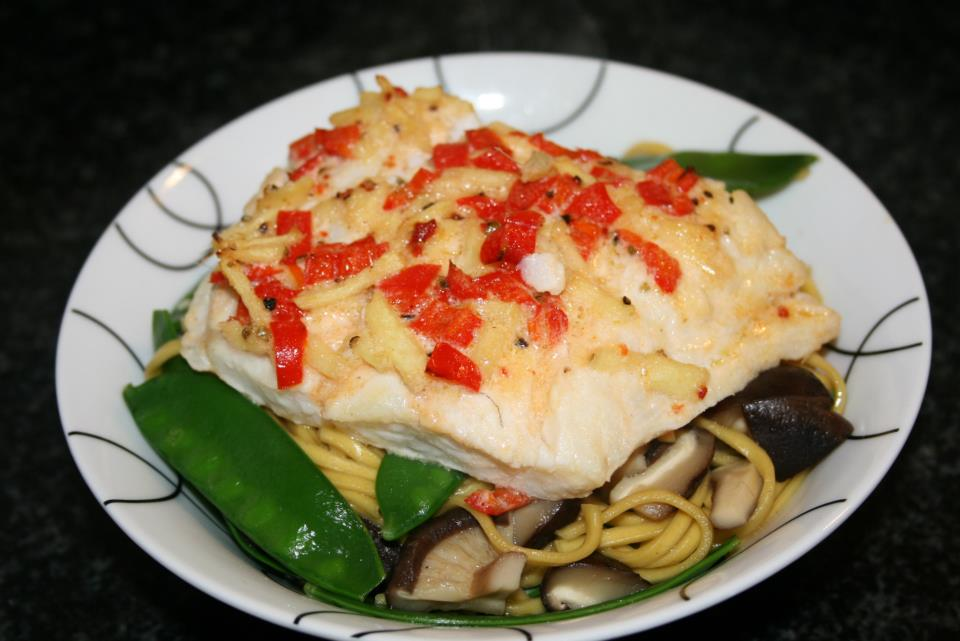 Roasted Coconut Cod with Shiitake Mushrooms, Mange Tout and Egg Noodles