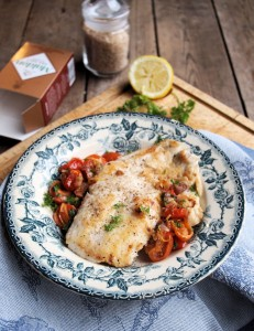 Wild Haddock with Smoked Sea Salt Crust and Cherry Tomato Scramble