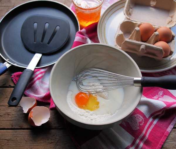 Preparing the pancake batter with OXO Good Grips tools