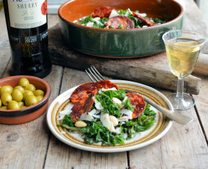 Crispy Kale and Chorizo Tapas Salad with Sherry Dressing