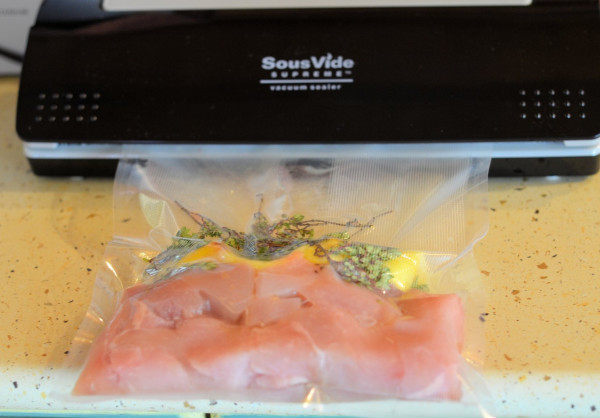 Vacuum sealing the chicken