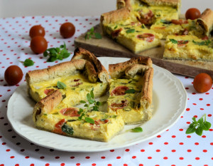 Cheese, Spring Onion and Tomato Flan