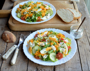 English Garden Salad with Egg and Cheese