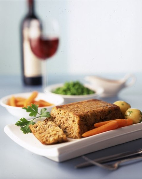 Rose Elliot's Pine Nut & Carrot Roast with Mushroom Sauce
