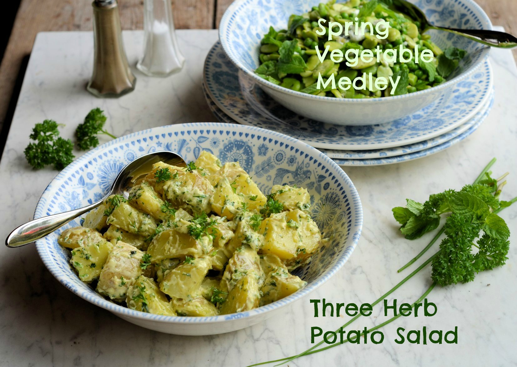 Broad Bean and Pea Medley with Feta Cheese and potato salad